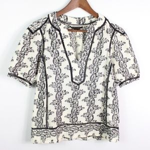 BCBGMaxazria Top Peasant Blouse Floral Embroidered